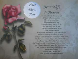 DEAR WIFE IN HEAVEN POEM MEMORIAL VERSE GIFT IN LOVING MEMORY OF WIFE