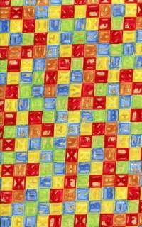 Choice Fabric Cotton   Playland   Multi Color Blocks