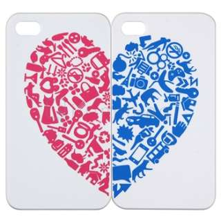 2x White w/Red&Blue Heart Case+Cute Animal Home Button Sticker For