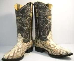 diamond PYTHON SNAKE SKIN cowboy boots size 9 botas de vibora piton