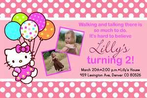 Pink Polka Dot Hello Kitty Birthday Party Invitation
