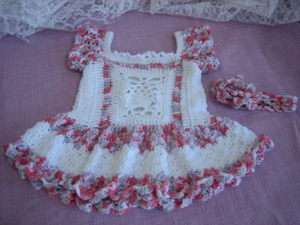 Baby Dress w. Headband/Flower and Afghan Crochet Pattern   Pineapples