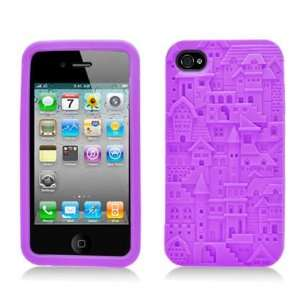 Purple Building Soft Silicone Laser Cut Skin for Apple iphone 4 / 4S