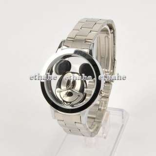 Mickey Mouse Hollow Round Wrist Watch Silver E1G1ZC