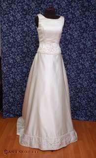 Ivory Satin A line Unique Beaded Wedding Dress 2 NWOT