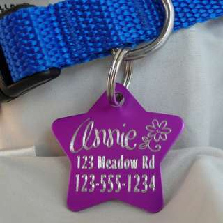 Pet ID Tag Colored Aluminum Custom Engraved Dog / Cat   Many Colors