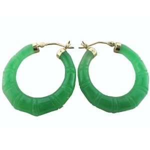 Green Jade Bamboo Hoop Earrings, 14K Gold Jewelry