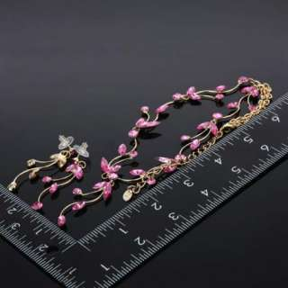 ARINNA Fuschia Rhinestone Branch Leaf Necklace Earring Jewelry Set 18k