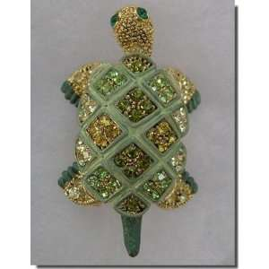 Green and Gold Crystals Turtle Pin B3E72