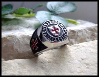 © KNIGHTS TEMPLAR SILVER STEEL RING SURGICAL RED CROSS   Z12