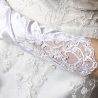 Satin Fingertips Elbow Length Beaded Flower Bridal Wedding Bride