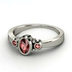 Kira Ring, Oval Red Garnet Sterling Silver Ring Jewelry