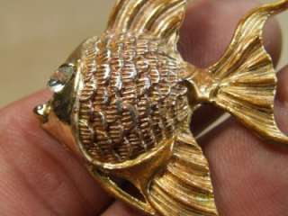 Vintage Enamel Angel Fish Pin Brooch Rhinestone Eye *
