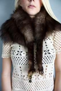 Fur FOX Russian Mink Sable coat SCARF wrap dress jacket w Feet