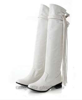 Womens Over The Knee Fringe Motorcycle Riding Boots #52
