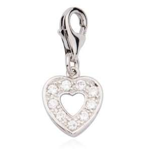 Platinum Plated Sterling Silver Cubic Zirconia Heart Charm