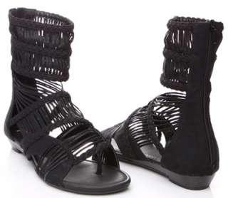 Womens Black Lady Strappy Ankle Zipper Wrap Sandals Roman Gladiator