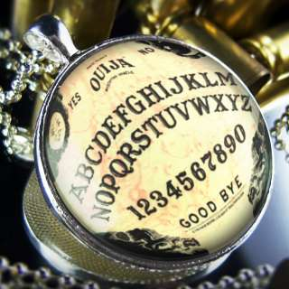 Large Vintage Ouija Board Horror Halloween Sterling Silver Necklace