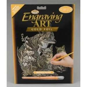 Royal Brush   Gold Foil Engraving Art Fox & Cubs (Metal