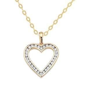 14k Yellow Gold, Diamond Heart Pendant with Chain (1.00