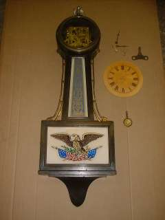 ANTIQUE American flag+eagle New Haven LARGE Banjo Clock wall clock