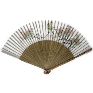 Floral Bird Painted Bamboo Wood Oriental Silk Folding Fan