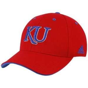 adidas Kansas Jayhawks Red Basic Logo Flex Fit Hat Sports