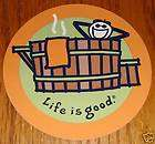 Life is Good Sticker 4 Round Jake in Hot Tub Grn/Ornge