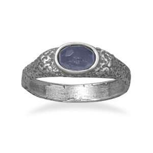 Oxidized Sterling Silver Ring With a 6mm Purple CZ Measures 3mm   Size