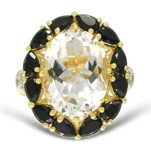 Yellow Gold Overlay Sterling Silver 12x16mm Oval Crystal