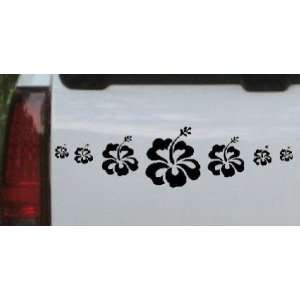 Hibiscus Flowers Row Flowers And Vines Car Window Wall Laptop Decal