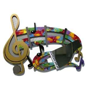 Music Notes Abstract Art Mixed Media Wall Decor Sculpture, Design by