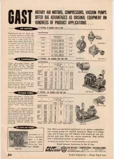 Gast Pumps Rotary Vacuum Compressors Air Motor 1957 AD