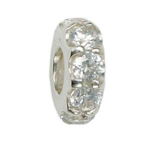 Sterling Silver White CZ Moress Bead