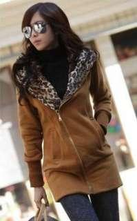 Japan Korea Womens Leopard fleece Hoodie Sweatshirt Jacket Coat Warm