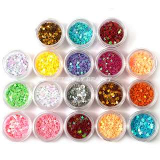 18 Color Plum Blossom Star Glitter Nail Art B34