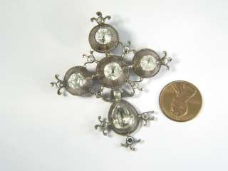 ANTIQUE FRENCH SILVER PASTE CROSS PIN PENDANT c1800