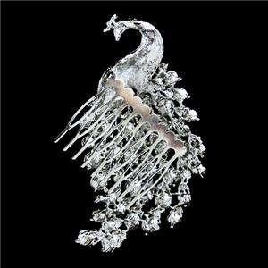 Bridal Flower Peacock Hair Comb Tiara Austrian Rhinestone Crystal