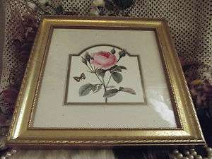 Victorian PINK ROSE Chic Wall PRINT Wood WOODEN Gold FRAME Roses ART