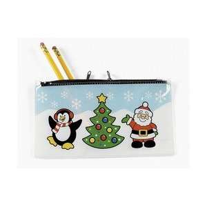 12 ct   Christmas Holiday Plastic Zippered Pencil Cases Toys & Games