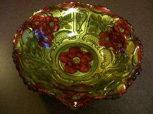 Antique Pattern Ruby Red & Gold EAPG Goofus Glass Bowl