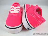 VANS AUTHENTIC NEON PINK/TRUE WHITE/BLACK BABY INFANT TODDLER ALL