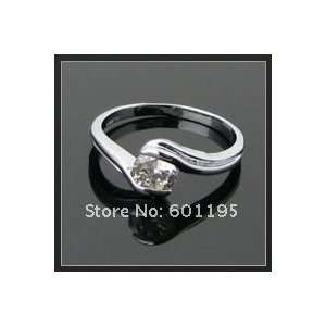 18k White Gold Plating Diamond Finger Ring Size 7.5