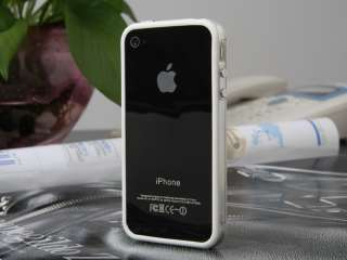 Apple iPhone 4 4S 4G White Clear Bumper Case Cover New