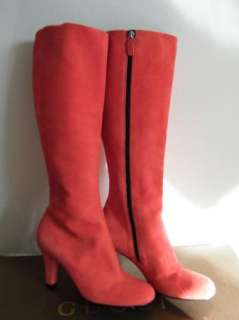 GUCCI SHOES sandals HEELS BOOTS suede knee high peach 37.5 7.5