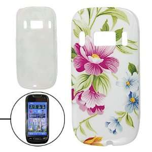 Leaf Print IMD Plastic Colorful Back Guard Cover for Nokia C7 Cell