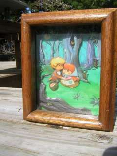 Vintage Metal Tin 3 D Picture Hansel Gretel Forest Boy