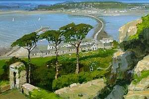 John Haskins St Michaels Mount From Penzance Cornwall Landscape Oil