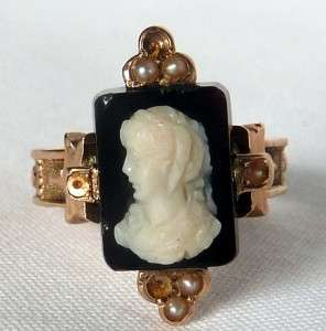ROSE GOLD VICTORIAN SARDONYX HARDSTONE CAMEO RING OF A MAN~DATED 1880