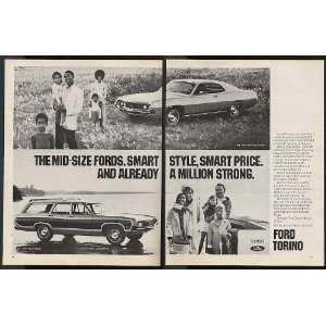 1971 Ford Torino 500 & Squire Wagon 2 Page Print Ad (9030